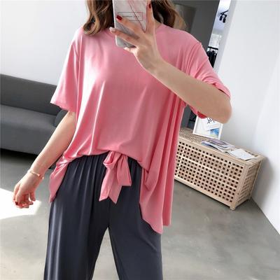 2019新款-撞色莫代尔套装长款 均码 粉色