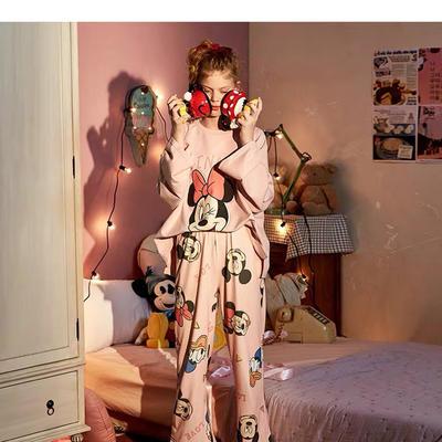2019新款-全棉米奇圆领粉色套装 M 米奇圆领粉色套装