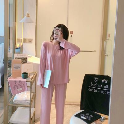 2019新款-螺纹棉睡觉三件套 均码 粉色