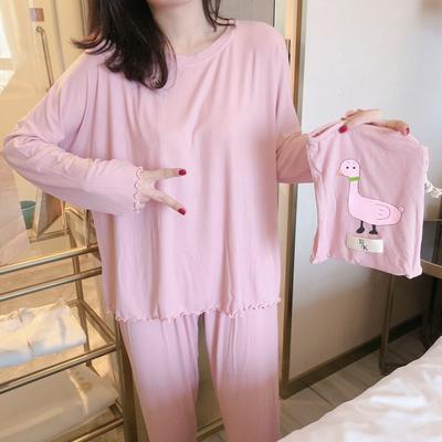 2019新款-螺纹棉小鸭子套装 均码 粉色