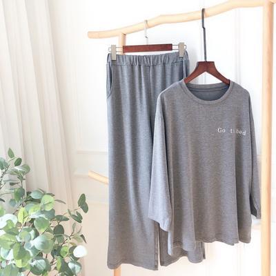 2019新款-莫代尔睡觉套装 均码 灰色