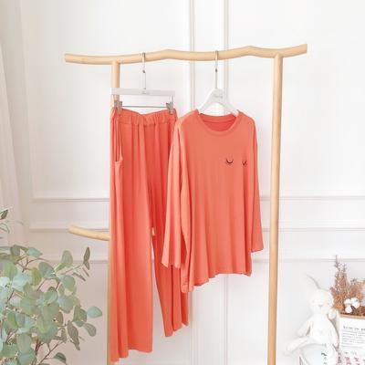 2019新款-莫代尔睡觉套装 均码 橘色
