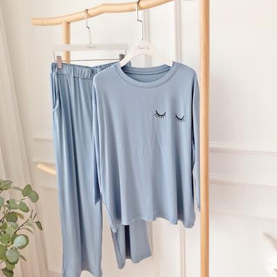 2019新款-莫代尔睡觉套装 均码 蓝色