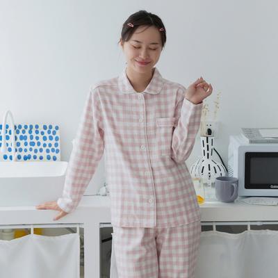 2019新款-全棉磨毛格子套装情侣款 女款M 粉格
