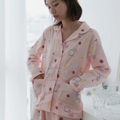 2019新款 -纱布几何套装情侣款 女款M 粉色