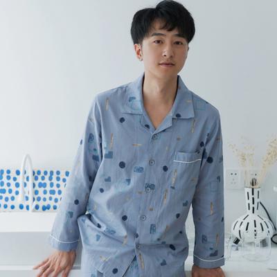 2019新款 -纱布几何套装情侣款 男款M 蓝色