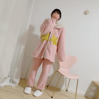 2019新款-珊瑚绒星星套装 M 粉色