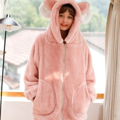 2019新款-羊角套装珊瑚绒 M 粉色