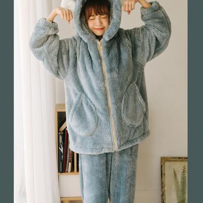 2019新款-羊角套装珊瑚绒 M 蓝色