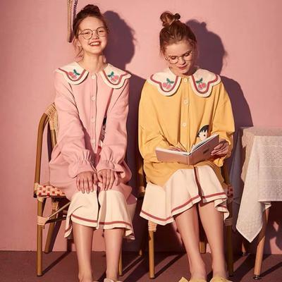 2020新款-家居服全棉娃娃领 小丸子裙 均码 黄色