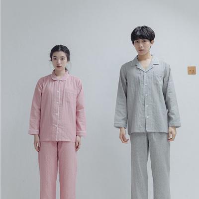 2020新款-家居服纱布情侣款 女款M 粉色
