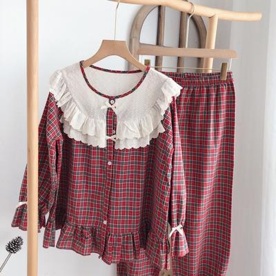 2020新款-家居服梭织棉套装+裙装 均码 红色套装