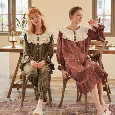 2020新款-家居服梭织棉套装+裙装 均码 绿色套装