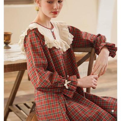 2020新款-家居服梭织棉套装+裙装 均码 红色裙装