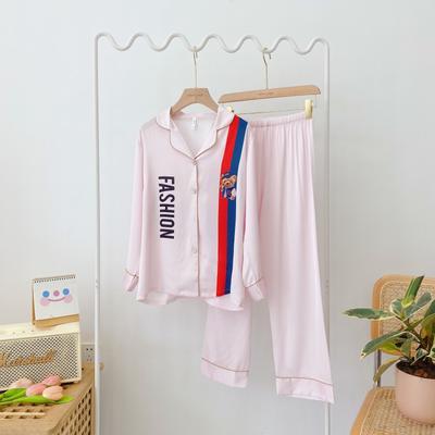 2020新款-真丝缎 彩色熊  家居服 M100 粉色