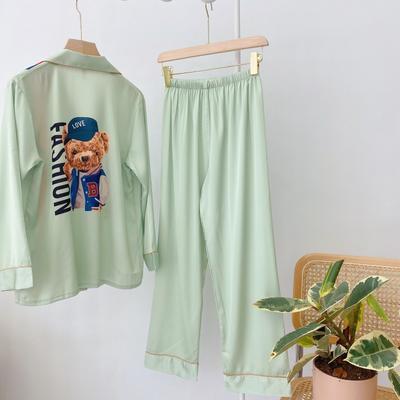 2020新款-真丝缎 彩色熊  家居服 M100 蓝色绿色