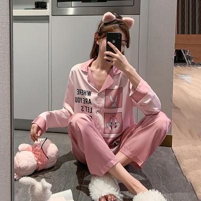 2020新款-真丝缎 粉色兔八哥家居服 M100 粉色兔八哥