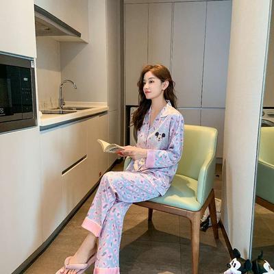 2020新款-真丝缎豹纹米奇 家居服 M100 紫色