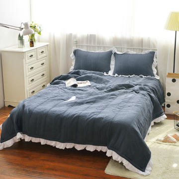 韩版水洗棉床盖三件套