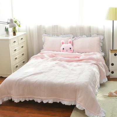 韩版水洗棉床盖三件套 220*240 粉色