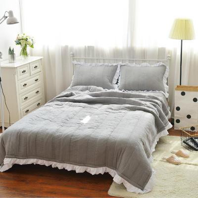 韩版水洗棉床盖三件套 220*240 灰色