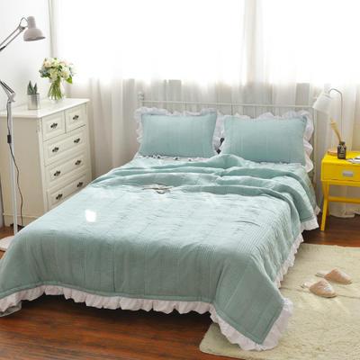 韩版水洗棉床盖三件套 220*240 绿色