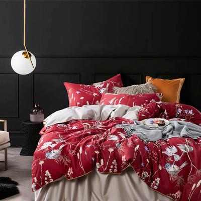 2019新款60数码印花四件套 1.8m(6英尺)床 红妆