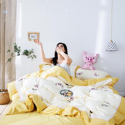 2019新款春夏60长绒棉绣花系列四件套 1.8m(6英尺)床 甜心小猪
