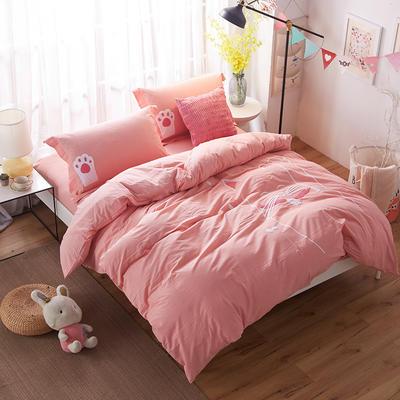 水洗棉系列:招财猫{粉色} 加大(2.0m-2.2m床) 粉色