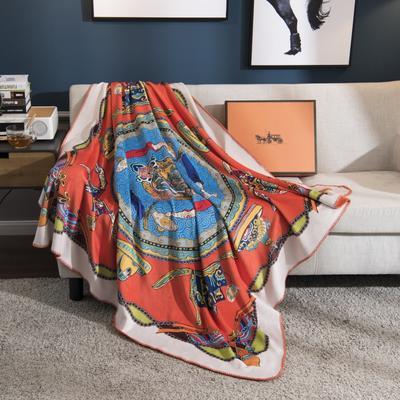 2018新款-水晶绒金丽绒多用途专版毛毯 150*150cm 龙冠