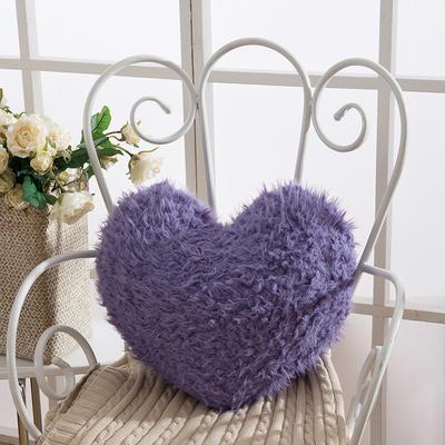 靠背系列(山羊绒系列-山羊绒爱心抱枕) 心形抱枕 深紫