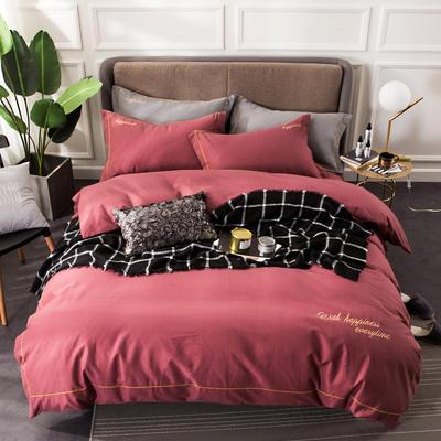 全棉磨毛绣花系列四件套 2.0m(6.6英尺)床 宝丽红