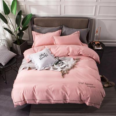 全棉磨毛绣花系列四件套 2.0m(6.6英尺)床 布鲁粉