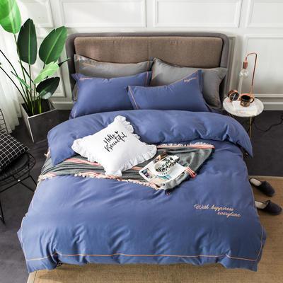 全棉磨毛绣花系列四件套 1.5m(5英尺)床 藏青蓝