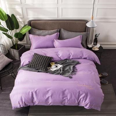 全棉磨毛绣花系列四件套 2.0m(6.6英尺)床 丁香紫