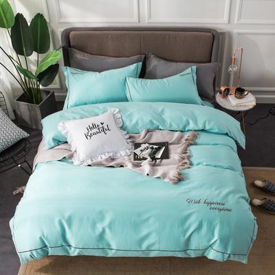 全棉磨毛绣花系列四件套 2.0m(6.6英尺)床 清水蓝