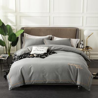 全棉磨毛绣花系列四件套 2.0m(6.6英尺)床 绅士灰