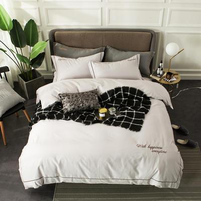 全棉磨毛绣花系列四件套 2.0m(6.6英尺)床 朱鹭白