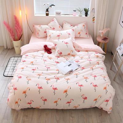 全棉双层纱系列四件套(床单款/床笠款) 床单款1.2m(4英尺)床 火烈鸟