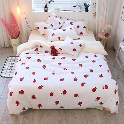全棉双层纱系列四件套(床单款/床笠款) 床单款1.2m(4英尺)床 苹果