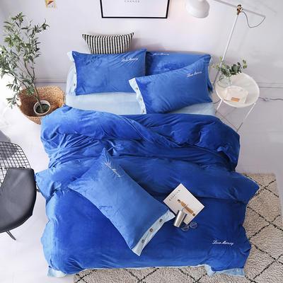 2018新款-美式水晶绒四件套 1.8m(6英尺)床 宝石蓝