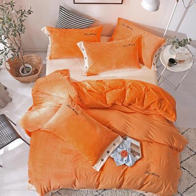 2018新款-美式水晶绒四件套 1.8m(6英尺)床 活力橙