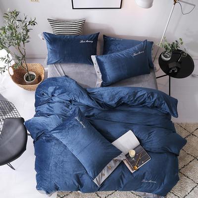 2018新款-美式水晶绒四件套 1.8m(6英尺)床 蓝灰