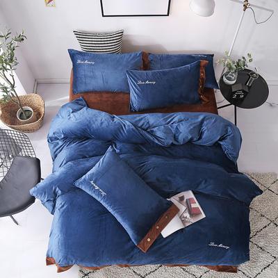 2018新款-美式水晶绒四件套 1.8m(6英尺)床 蓝咖