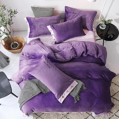 2018新款-美式水晶绒四件套 1.8m(6英尺)床 冷艳紫