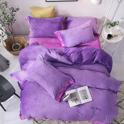 2018新款-美式水晶绒四件套 1.8m(6英尺)床 薰衣紫