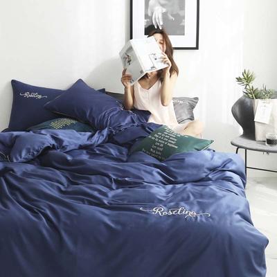 2019新款-60长绒棉素色刺绣+滚绳四件套 床单款四件套1.8m(6英尺)床 藏青色