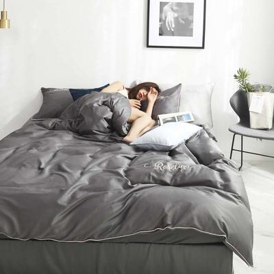 2019新款-60长绒棉素色刺绣+滚绳四件套 床单款四件套1.8m(6英尺)床 高级灰