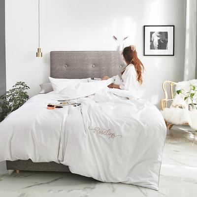 2019新款-60长绒棉素色刺绣+滚绳四件套 床单款四件套1.8m(6英尺)床 贵族白