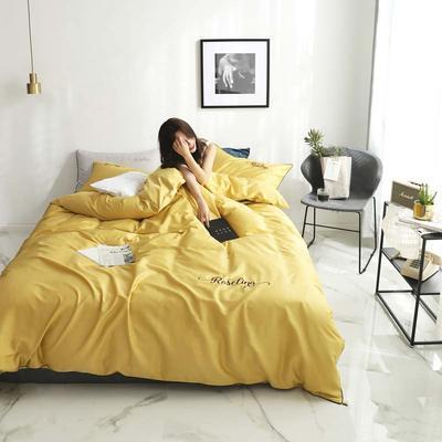 2019新款-60长绒棉素色刺绣+滚绳四件套 床单款四件套1.8m(6英尺)床 姜黄